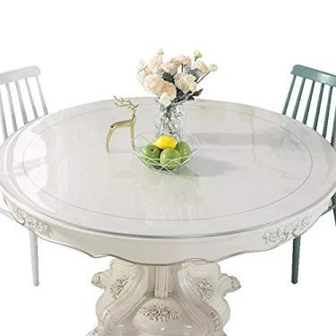 Imagem de Toalha de mesa de vinil com suporte de flanela redonda de 80 cm / 32 polegadas, toalha de mesa para mesa de cozinha, capa de mesa à prova d'água, protetor de toalhas de mesa de PVC Espessura