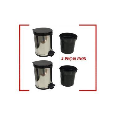 Lixeira Cesto Lixo 5l Pedal Inox Preto com Recipiente Plástico Interno Viel Kit 2 Pcs