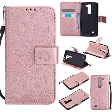 Capa carteira XYX para LG Volt 2, [Sun Flower] Couro PU premium fecho magnético TPU bumper capa slim fit para LG Volt 2/LG Magna/LG G4 Mini/LG G4C, ouro rosa