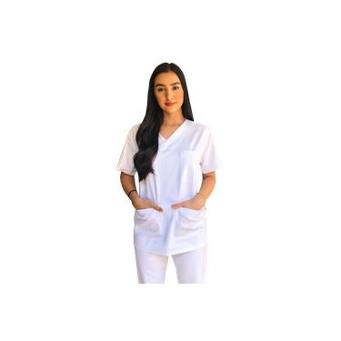 Conjunto Pijama Cirúrgico Branco Brim Unissex