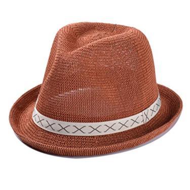 Chapéu de praia feminino com proteção solar, aba curta, chapéu de palha estruturado com faixa (cinza claro)