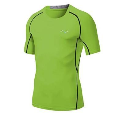 Camiseta masculina Nooz 4 Way Stretch Cool Tech de compressão de secagem rápida e manga curta, Verde, Large