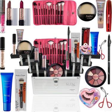 Imagem de Maleta Maquiagem Completa Ruby Rose Kit Macrilan Pinceis Pó - Glow Pin