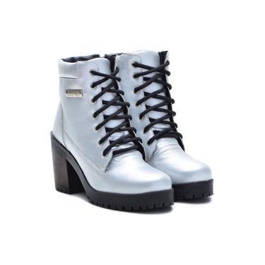 Imagem de Coturno Casual Atron Shoes Couro Feminino Zíper Conforto Prata