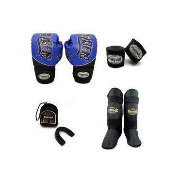 Kit Boxe com Caneleira Freestyle- Tailandês Azul 14 oz