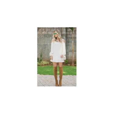 Vestido Feminino Curto Manga Longa Branco Ombro A Ombro Gisele Freitas