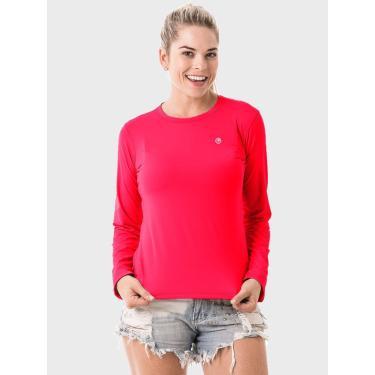 Camisa Uv Feminina Longa Proteção Solar Extreme Uv New Dry Flúor Coral - Gg