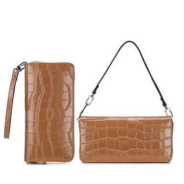 KYSA Bolsa clutch com padrão de pedra, bolsa de ombro moderna para mulheres, bolsa de mão, carteira para celular, porta-cartão de crédito