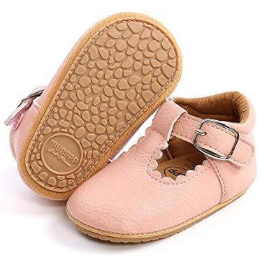 LAFEGEN Sapatos para bebês meninas antiderrapantes sola macia couro PU infantil Mary Jane sem salto primeiro andador sapato Oxford 3-18 meses, 12 Pink, 3-6 Months Infant