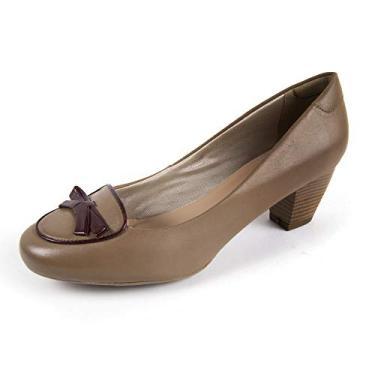 Sapato Scarpin Salto Grosso Linha Social Elegance Miuzzi - 3503 - Taupe