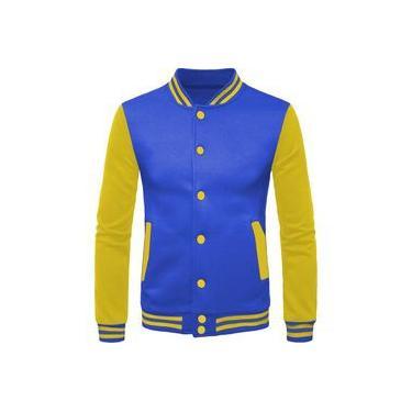 Jaqueta Masculina De Moletom College Criativa Urbana Amarela Azul Lisa