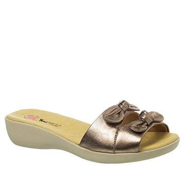 Tamanco Anatômico Feminino em Couro Metalic 103 Doctor Shoes-Bronze-34