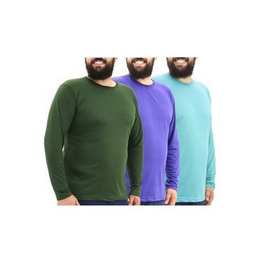 Kit 3 Camisetas Masculinas Plus Size Malha Fria Manga Longa