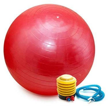 Bola Pilates Yoga Abdominal Ginastica Fitness 55 cm C/Bomba Cor: Vermelho