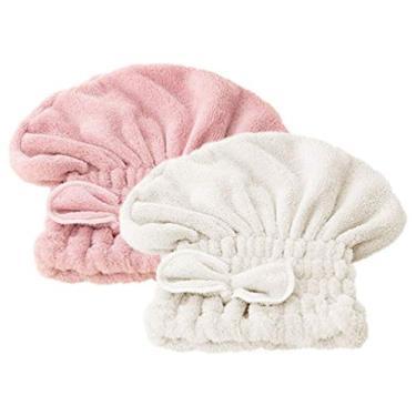 Boné de secagem de cabelo Milisten fofo de lã coral espesso para crianças Adulto Rosa + Off-white
