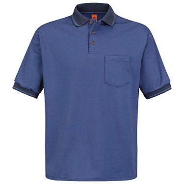 Imagem de Camisa de malha masculina Red Kap Performance, Navy/Medium Blue, X-Large