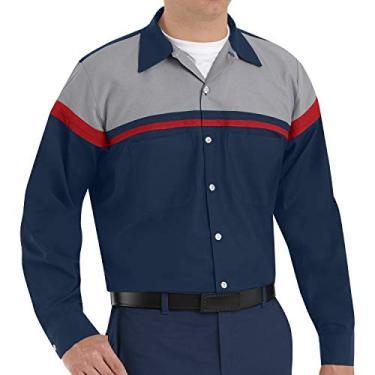 Imagem de Red Kap Camisa masculina de manga comprida com tecnologia de desempenho, Azul-marinho/vermelho/cinza claro, G