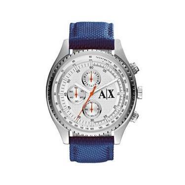 57eeef5ee46 Relógio Armani Exchange Com Cronógrafo Silver Dial Blue Nylon Relógio  Masculino Ax1609