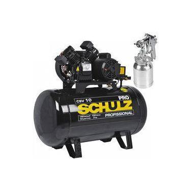 e1ff35321 Compressor 10 Pés 100 Litros 140 Libras 2 HP CSV-10 100 PRO SCHULZ