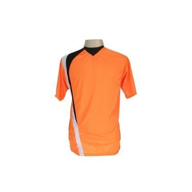 Imagem de Jogo de Camisa com 14 unidades modelo PSG Laranja/Preto/Branco + 1 Goleiro +