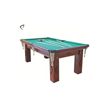 Mesa De Snooker/Bilhar Residencial Mogno Com Pedra Ardósia Tecido Verde 2,2m X 1,2m - Procópio