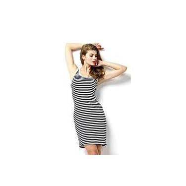 Vestido Feminino Midi Tubinho Listrado Chic Up Modas w2204
