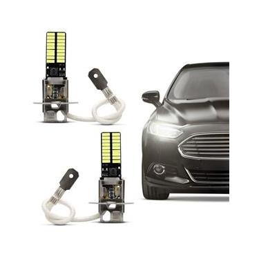 Par Lâmpada LED H3 36 LEDs 12V 2,5W 1 Polo Branca Aplicação Farol Alto Farol Baixo