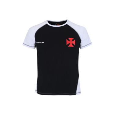 Camiseta do Vasco da Gama Lude Raglan - Masculina - PRETO BRANCO Braziline cbbc61e2eb49c