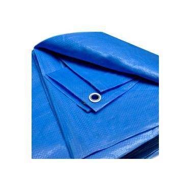 Lona Azul 7x6 Plástica Impermeável Cobertura Barraca Camping Obra Telhado Multiuso + Ilhós