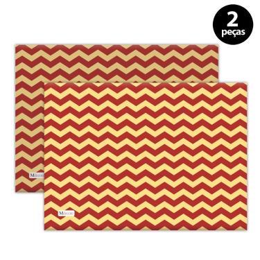 Imagem de Jogo Americano Mdecore Natal Chevron 40x28 cm Vermelho 2pçs