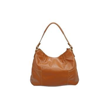 Imagem de Bolsa Grande Feminina Marrom Caramelo Couro Legítimo Metais Dourados Modelo Saco Sacola Bucket Bag Luxo Madamix