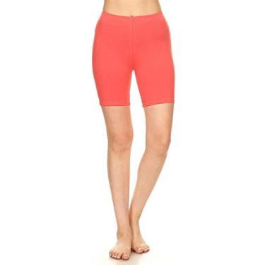 Shorts de ciclismo Hajotrawa feminino de algodão e Plus Fitness elástico para ioga, Coral, M
