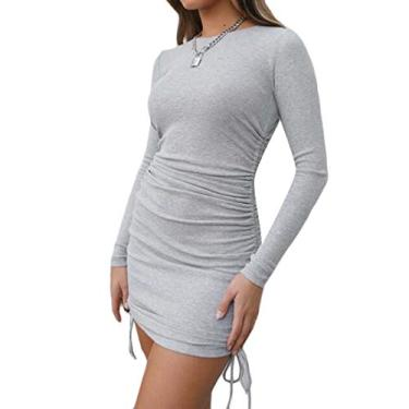 Vestido KLJR feminino de manga comprida, ajuste regular, cordão lateral, gola redonda, Cinza, S