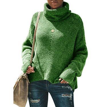 Yskkt Suéter feminino plus size gola rolê manga morcego solto cabo tricotado grosso pulôver, Verde, 3X-Large