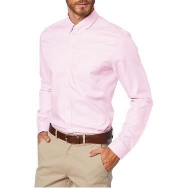 Camisa Regular Fit, Lacoste, Masculino, Rosa Claro/Branco, 44