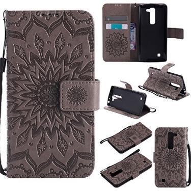 Capa carteira XYX para LG Volt 2, [Sun Flower] Couro PU premium fecho magnético TPU bumper capa slim fit para LG Volt 2/LG Magna/LG G4 Mini/LG G4C, cinza