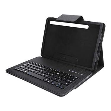 Teclado Bluetooth, teclado sem fio para jogos para Samsung Tab S7 2020 11 polegadas T870/T875 teclado arco-íris retroiluminado recarregável com capa de couro, preto