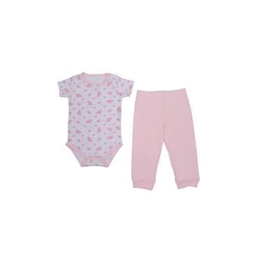 Pijama para Bebê Body e Calça Nuvens Rosa Colibri