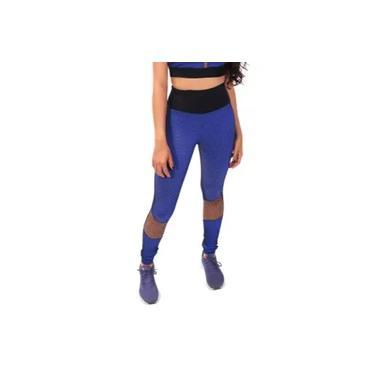 Calça Legging Feminina Microfibra Com Telinha Azul Academia Fitness Treino Básica