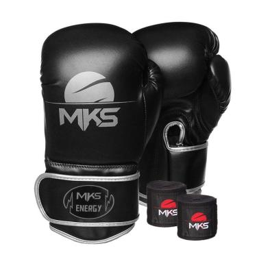 Kit Luva Boxe Mks Energy V2 Black&Silver Bandagem 2,55M 16Oz