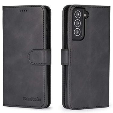 Capa para celular Samsung S21 Plus,[capa de couro TPU de alta qualidade] [carteira] [capa para celular com fivela magnética],Preto