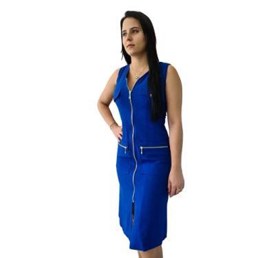 Imagem de Vestido de Linho Yasmim Midi Azul Caneta com Zíperes e Botões Dourados Tamanho:P
