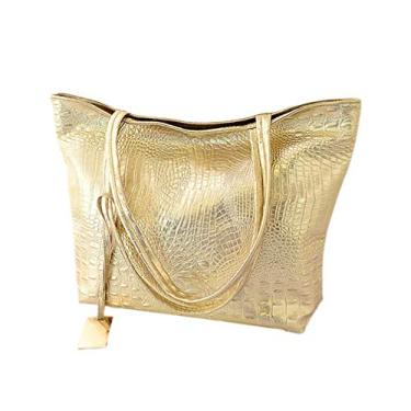 Imagem de OSALADI Bolsa feminina de grande capacidade, bolsa de compras de couro de poliuretano, bolsa de ombro único para escola, trabalho, loja, Dourado, Size 1