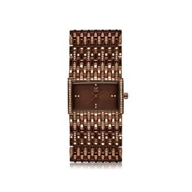 26b2715539c Relogio Feminino Vox Analogico Atlanta Caixa Retangula Pulseira Metal na  Cor Chocolate Zirconias Cravejadas