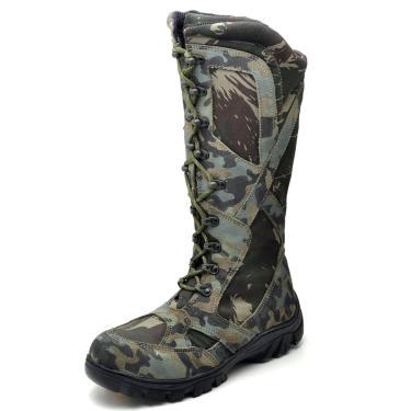 Bota Cano Alto em Couro Top Franca Shoes Militar Verde  masculino