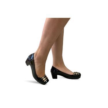Sapato Feminino Salto Baixo Médio Grosso Confortável 4042