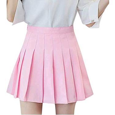 Saia plissada de cintura alta para meninas, saia xadrez simples, evasê, minissaia, skatista, uniforme escolar, shorts com forro, rosa, M