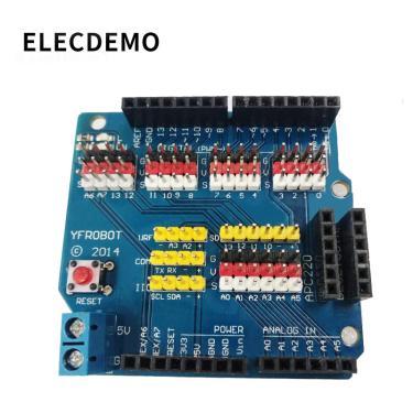 Imagem de 1 pçs sensor escudo placa de expansão escudo uno r3 v5.0 módulo elétrico novo para arduino uno r3