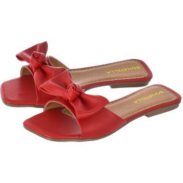 Imagem de Sandália Rasteira Feminina Donatella Shoes Laço Vermelho  feminino