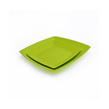Kit 5 Pratos Quadrados De Refeição + 5 Pratos Quadrados De Sobremesa Em Polipropileno Verde.